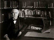 Inventor Thomas Edison in Study with Electric Typewriter
