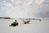 Inupiaq Subsistence Whalers Head Out to the Pack Ice During Spring Whaling Season