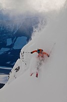 A male free skier in the Revelstoke Mtn Resort Backcountry, BC