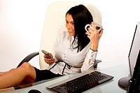 Office worker, secretary drinking coffee