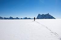 Backcountry skier on Col du Midi, overlooking Les Grandes Jorasses and Dent du Geant, Chamonix, Mont_Blanc, France
