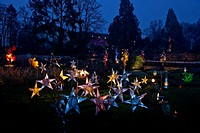 Christmas illuminations in Wesserling park, Wesserling, Alsace, France