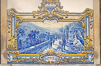 PORTUGAL,River Douro, Pinhao, railway station, azulejos, hand painted blue tiles, of grape harvest