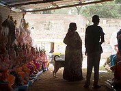 Shoppers looking for Ganesha statues for the Ganesha Chaturthi festivities in Bangalore, India.