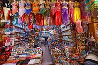 Shop in the Egyptian Spice Bazaar Istanbul with belly dancing costumes and ceramics