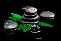 zen stones and leaves with water drops. leaf and basalt stones