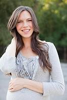 Portrait of pregnant mid adult woman