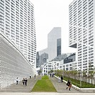 New York firm Steven Holl Architects has completed the Sliced Porosity Block, a cluster of five towers around a public plaza in