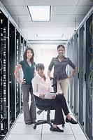 Businesswomen in server room