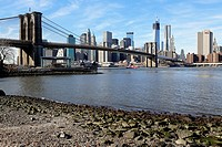 Manhattan Financial District Wall Street Skyline as seen from the DUMBO Neighborhood of Brooklyn