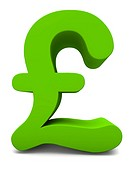 3D render of a green pound sign on white background