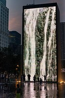 Images Depicted In Light On The Side Of The Crown Fountain, Chicago Illinois United States Of America