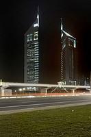 EMIRATES TOWERS at night, Dubai, United Arab Emirates