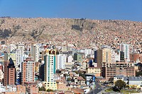 View of downtown La Paz, Bolivia, South America