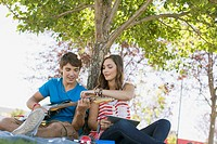 Teenage couple with guitar and pc tablet in park.