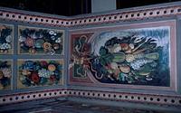 Naturalistic motif decorations, interior of Jindrichuv Hradec Castle, Bohemia. Detail. Czech Republic.