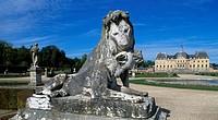 View of Chateau of Vaux-le-Vicomte from the park, 1656-1661, palace by Louis Le Vau (1612-1670), gardens by Andre Le Notre (1613-1700), Melun, Ile-de-...
