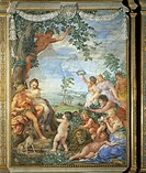 Golden Age, detail from the Four Ages of Man cycle of frescoes, 1637- 1640, by Pietro da Cortona (1596-1669). Stove Room, Palatine Gallery, Pitti Pala...