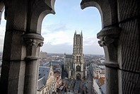 A view from Belfort at the historical Saint Baafs-church in the centre of Gent, Belgium
