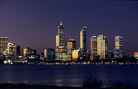 Perth city skyline on Swan River with Central Business District, viewed from Sir James Mitchell Park, Western Australia