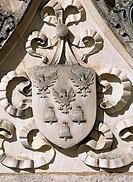 Crest, decorative detail from Chateau de Clerans, Saint-Leon-sur-Vezere, Aquitaine. France, 16th century.