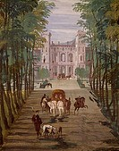 Landscape with carriages and horses, by Paolo Veronese (1528-1588), fresco, Villa Barbaro (UNESCO World Heritage List, 1996), Room of Bacchus, Maser, ...
