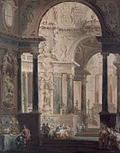 The Feast of Absalon, painting by Vittorio Maria Bigari (1692-1776).  Bologna, Pinacoteca Nazionale Di Bologna (Art Gallery, Paintings)