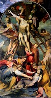 Deposition from the Cross, 1569, by Federico Barocci (ca 1535-1612), oil on canvas, 232x412 cm, Cathedral of St Lawrence, Perugia, Umbria. Italy, 16th...