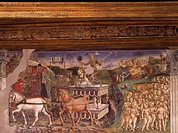 Triumph of Apollo, Month of May, ca 1470, by Francesco del Cossa (ca 1435-1477), fresco, east wall, Hall of the Months, Palazzo Schifanoia (Palace of ...