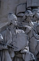 The painter Goncalves, detail from the Monument to the Discoveries (Padrao dos Descobrimentos), Lisbon, by the sculptor Leopoldo Almeida. Portugal, 20...