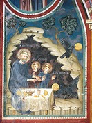 The Stealing of the poisoned bread by the crow, detail form The stories of St Benedict, 13th century fresco by the Second assistant of Consolo or Magi...
