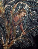 Figure of a man on a palm tree, detail from the Entry of Christ into Jerusalem, 14th century fresco by the Master Trecentesco of Sacro Specol. Upper C...