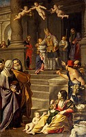 Presentation of Mary at the Temple, 1623-1627, painting by Domenico Zampieri known as Domenichino (1581-1641). Right aisle of Our Lady of Mercy Sanctu...