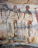 Marcellino and Tiburcio, detail of Christ and the Holy Martyrs, late 4th- century fresco, Catacomb of Saints Marcellinus and Peter, Rome. Italy, 4th c...