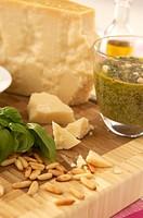 Pesto and parmesan cheese