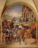 Benedict predicting the destruction of Monte Cassino, scene from the Stories of Saint Benedict in Monte Oliveto Maggiore, 1505, by Sodoma (1477-1549),...