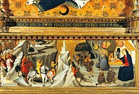 Nativity and the arrival of the Magi, by Giovanni del Biondo (active from 1356 to 1399). detail from the predella of Rinuccini altarpiece, 1379. Basil...