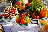 Fresh summer vegetables on a table