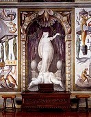 Glimpse of Sala Baglione or Hall of the Grotesque, with frescoes by Cesare Baglione (1525-1590) and a pair of late 18th century lyre tables, Rocca Mel...