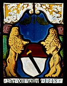 Stained-glass windows, Gruyeres Castle, canton of Fribourg. Detail. Switzerland.