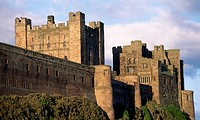 View of Bamburgh Castle, Northumberland. England, 11th century.