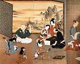 Music and games, detail from the screen, by Hikone, with genre scenes, colour on gold paper, Japan. Japanese Civilisation, Edo period, the first part ...