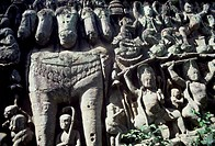 Bas-relief depicting a horse with five heads near Leper King Terrace, Angkor (UNESCO World Heritage List, 1992), Cambodia.