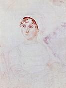 Portrait of Jane Austen (Steventon 1775 - Winchester 1817), British writer from the pre-Romantic period, by Cassandra Austen (1773-1845), ca 1810, wat...
