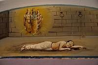 Wall painting ; Chettier-house ; Kanadukethan ; Chettinad ; Karaikudi ; Tamil Nadu ; India