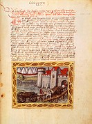 Provisioning in Padua, miniature from manuscript, 16th Century.  Luzern, Stadtbibliothek (Library)