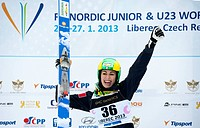 Evelyn Insam of Italy celebrates her second place in the women´s ski jump race during Nordic Junior World Ski Championships in Liberec, some 90 kilome...