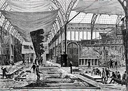 Opera-Garnier set design workshop at Palais de l'Industrie in Paris in support of those in Rue Ricter which could no longer meet demand, ca 1874. Prin...