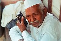 Old man listening radio NO MR