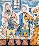 Musicians, detail from The Marriage of Canaan and Entry of Christ into Jerusalem, Per Nilsson carpet, produced in Lusshult, 1781. Sweden, 18th century...